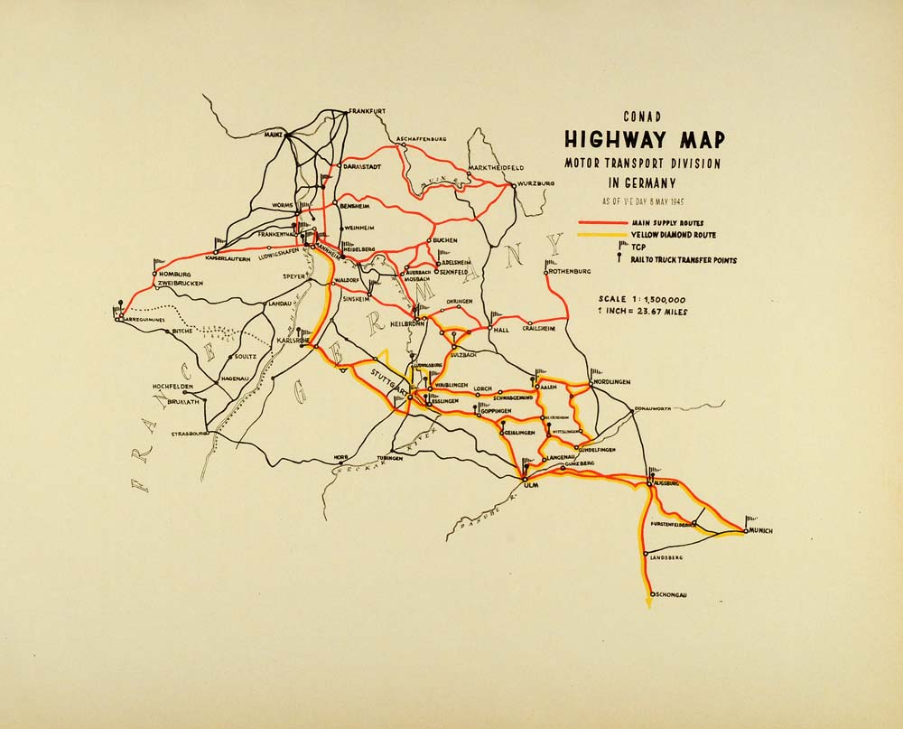 1945 Print Conad Highway Map Motor Transport Germany World War II Yellow  CON1