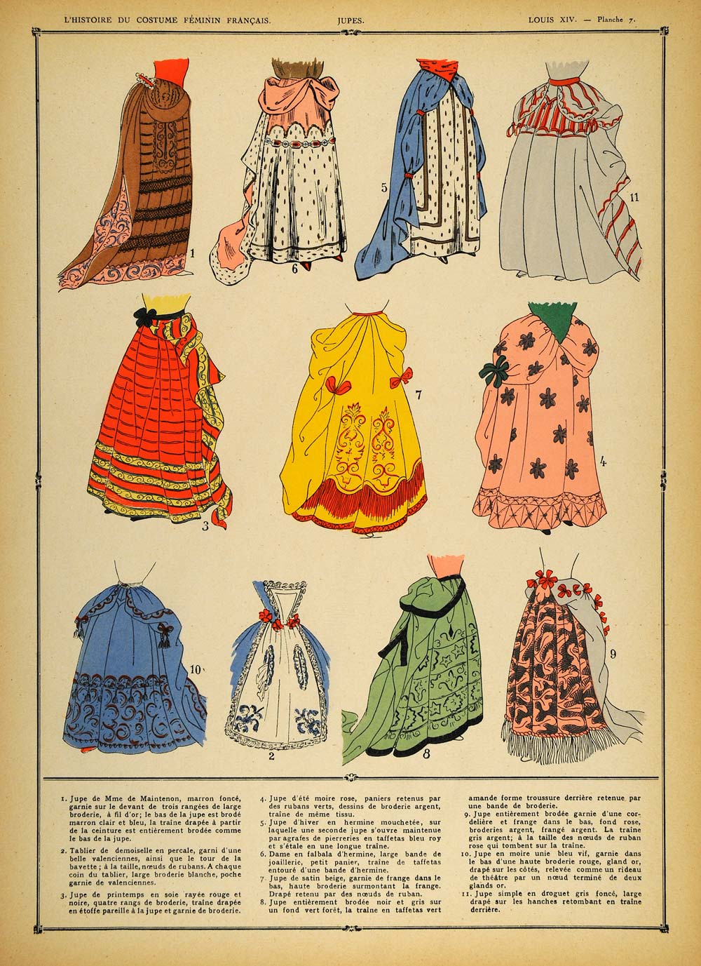 1922 Pochoir Louis XIV Costume French Women Skirts NICE - ORIGINAL COS1