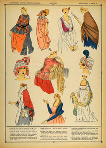 1922 Pochoir French Revolution Costume Lady Hair Shawls - ORIGINAL COS1