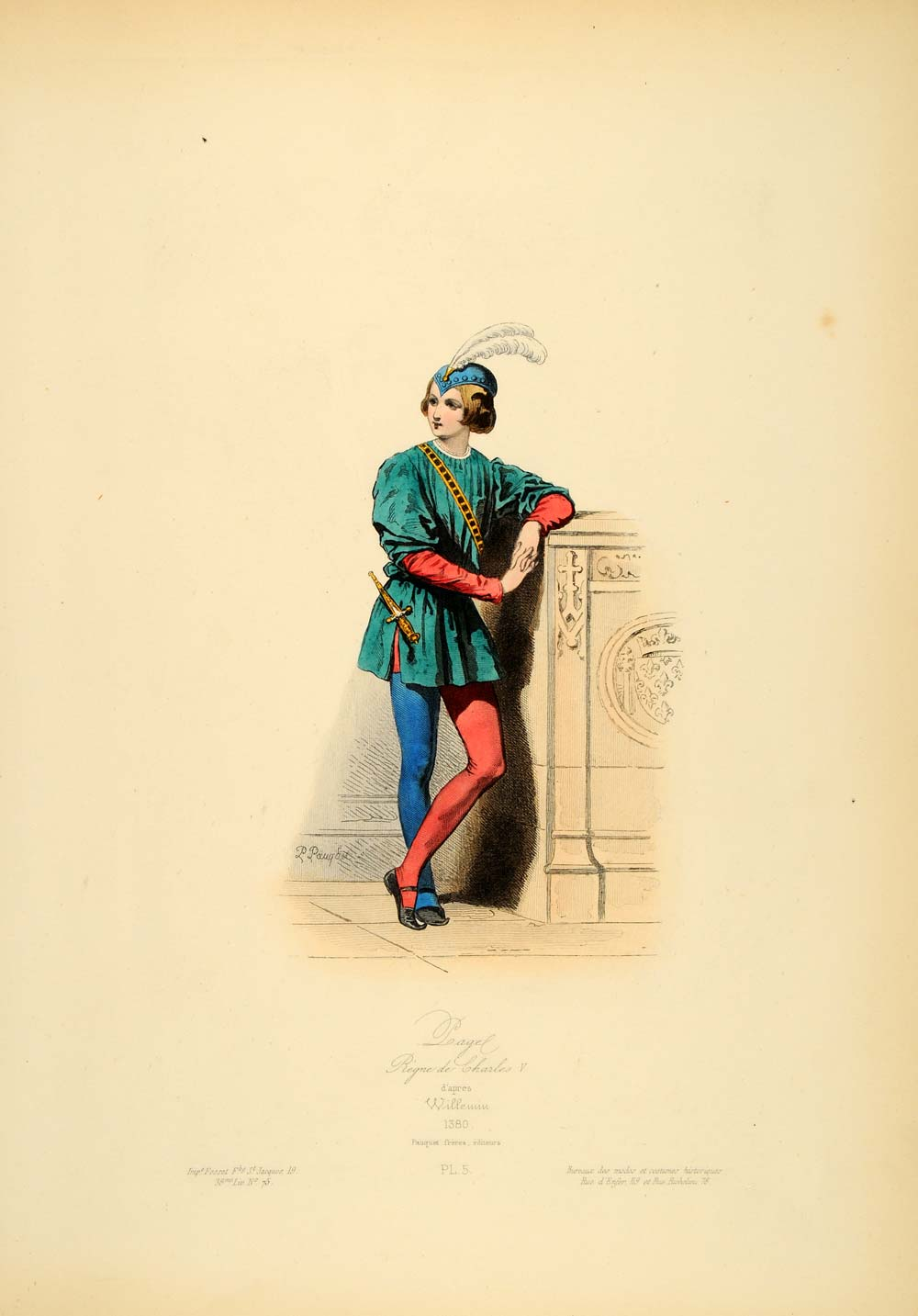 1870 Court Costume Page Boy France Middle Ages Medieval