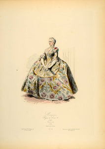 1870 Engraving French Marquise Dress Costume Lancret - ORIGINAL COS6