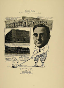 1923 Print Jacob Kulp Chicago Investments Bonds Golfer - ORIGINAL CP1