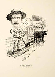 1904 Lithograph David J. Doherty Physician Chicago Illinois Cartoon Farming CPC1