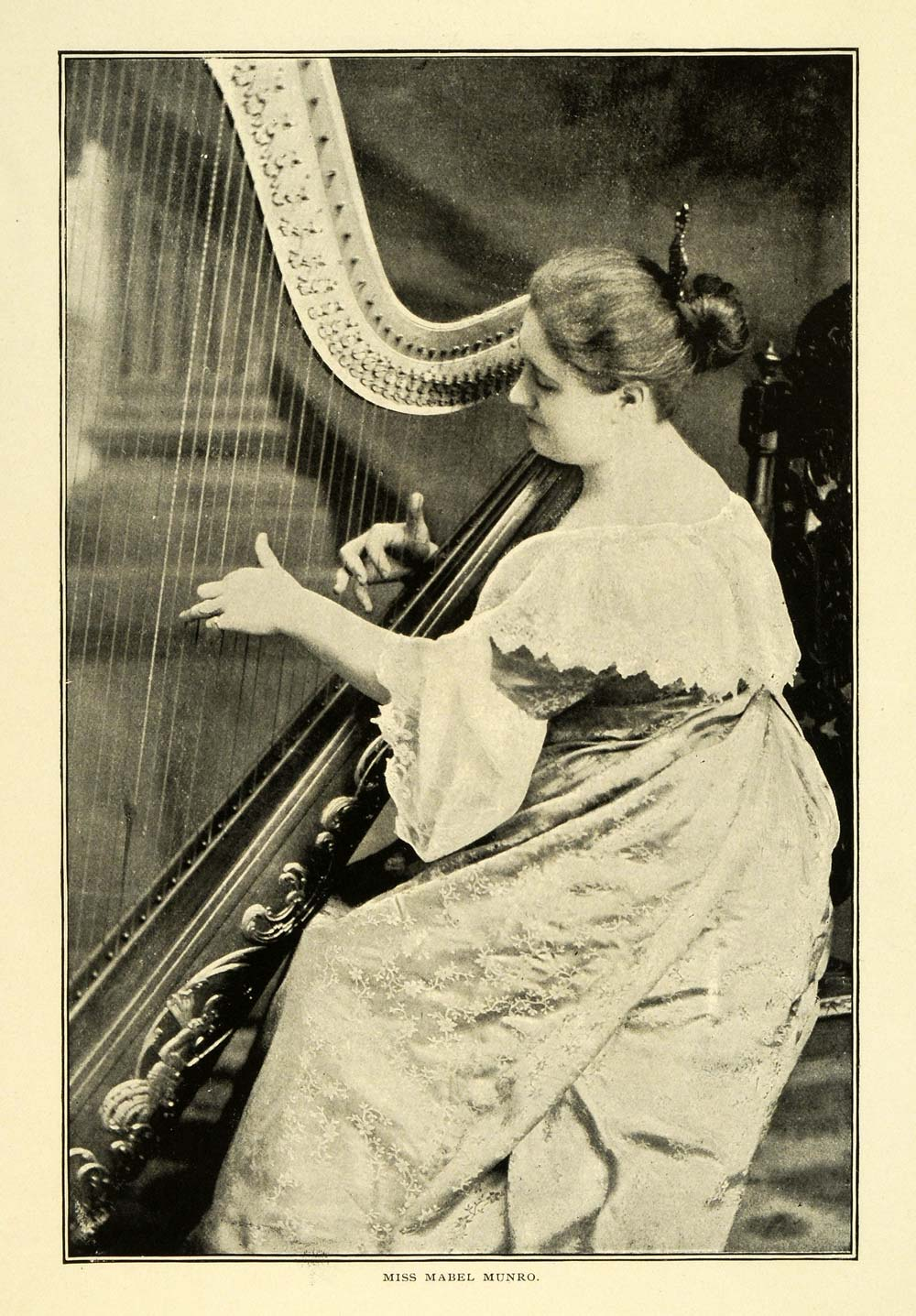 1898 Print Mabel Munro Portrait Musical Instrument Harp Players Musician CSM1
