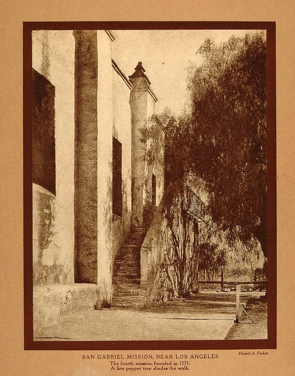 1911 Print California San Gabriel Mission Los Angeles - ORIGINAL CTB1