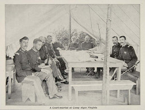 1899 Print Soldiers Officers Court Martial Camp Alger ORIGINAL HISTORIC CUB1