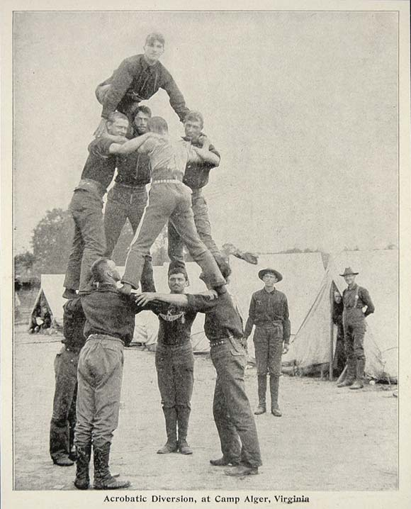 1899 Print Acrobatic Pyramid Soldiers Gymnastics Alger ORIGINAL HISTORIC  CUB1
