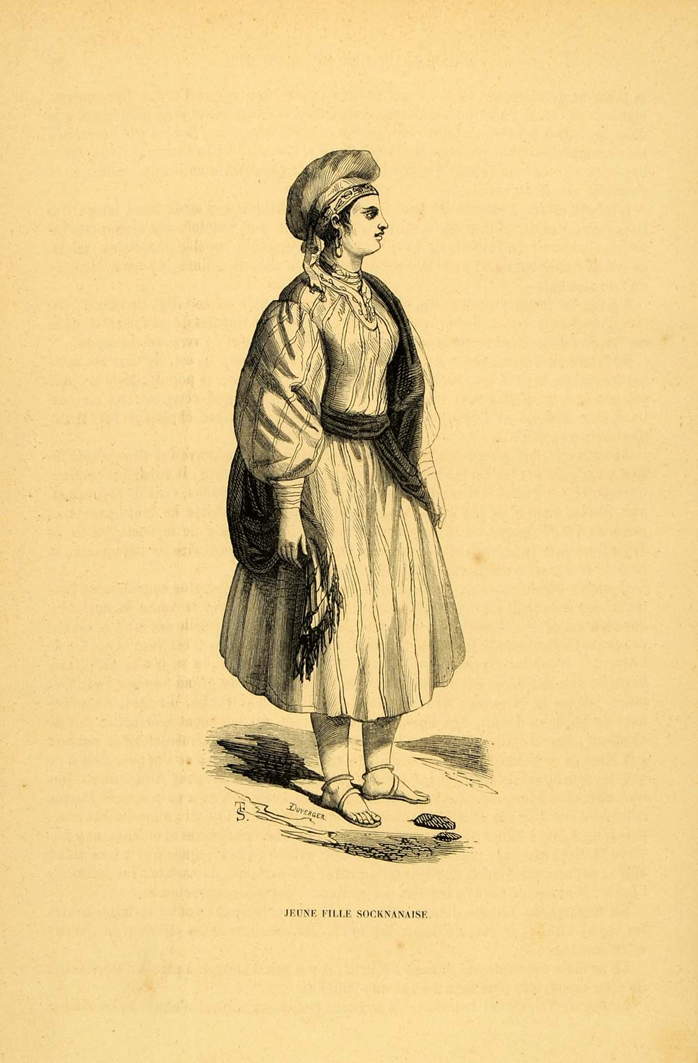 1844 Engraving Costume Dress African Girl Woman Africa - ORIGINAL CW3