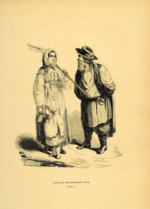 1844 Engraving Costume Russian Peasant Woman Child Tver - ORIGINAL CW4