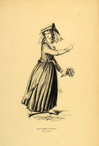 1844 Engraving Costume Woman Dress Hat Nettuno Italy - ORIGINAL CW4