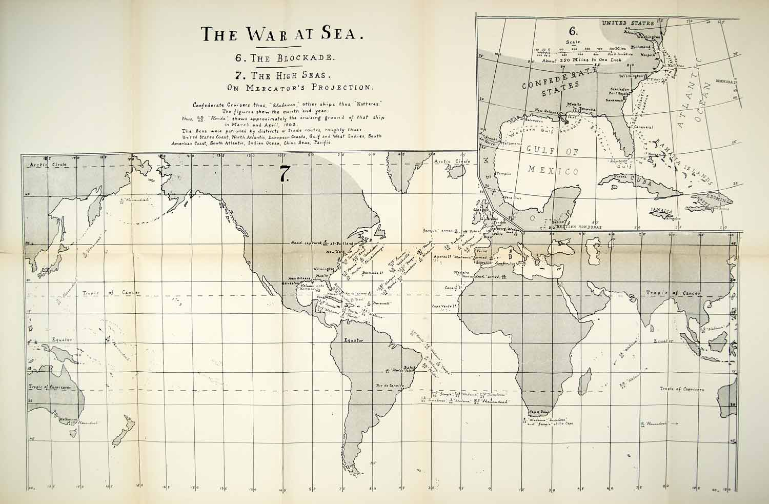 1910 Lithograph Map American Civil War Sea Blockade Naval Movement Global CWM1