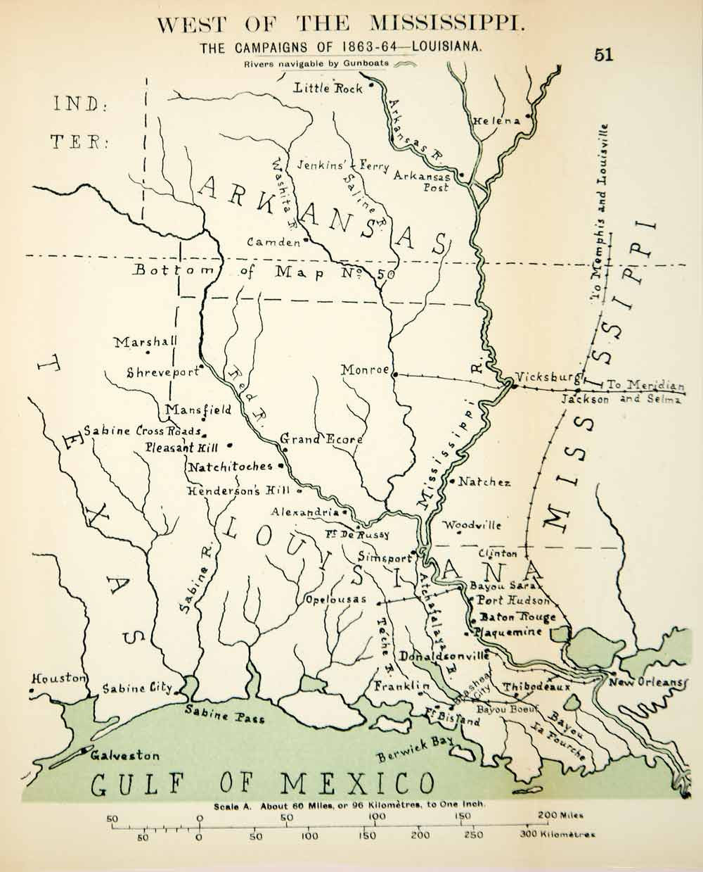 1910 Lithograph Map American Civil War Western Theater Mississippi River  CWM1