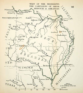 1910 Lithograph Map American Civil War Western Theater Campaign Union Army CWM1