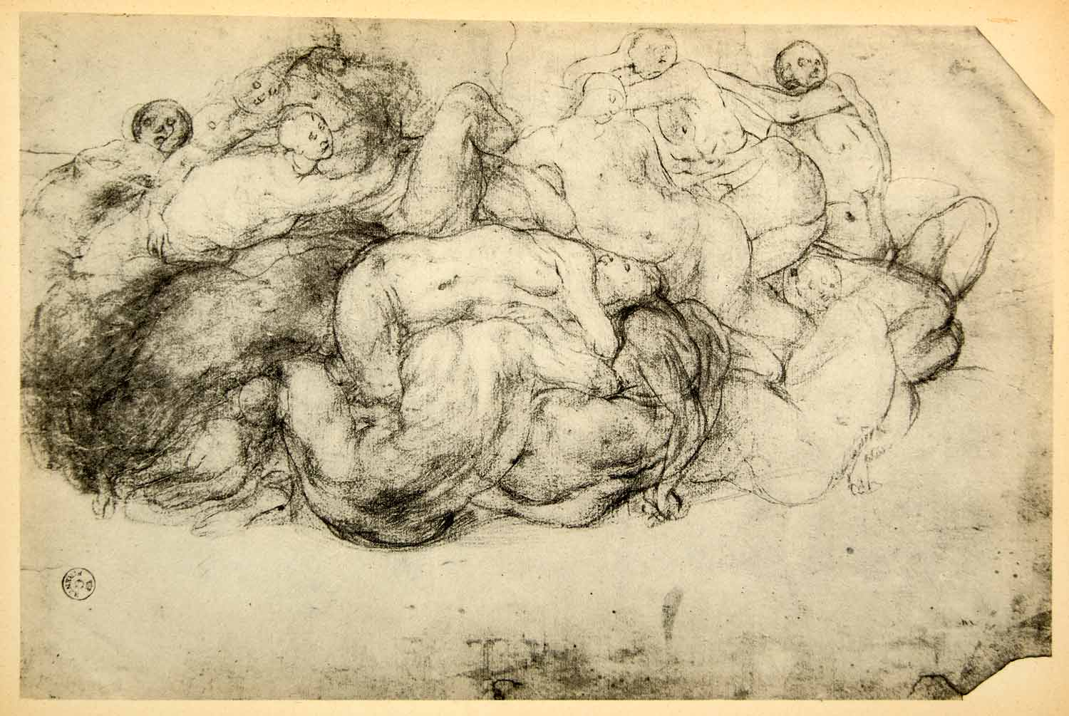 1943 Print Jacopo Carucci Pontormo Nude Portrait Orgy Group Italian DDP1