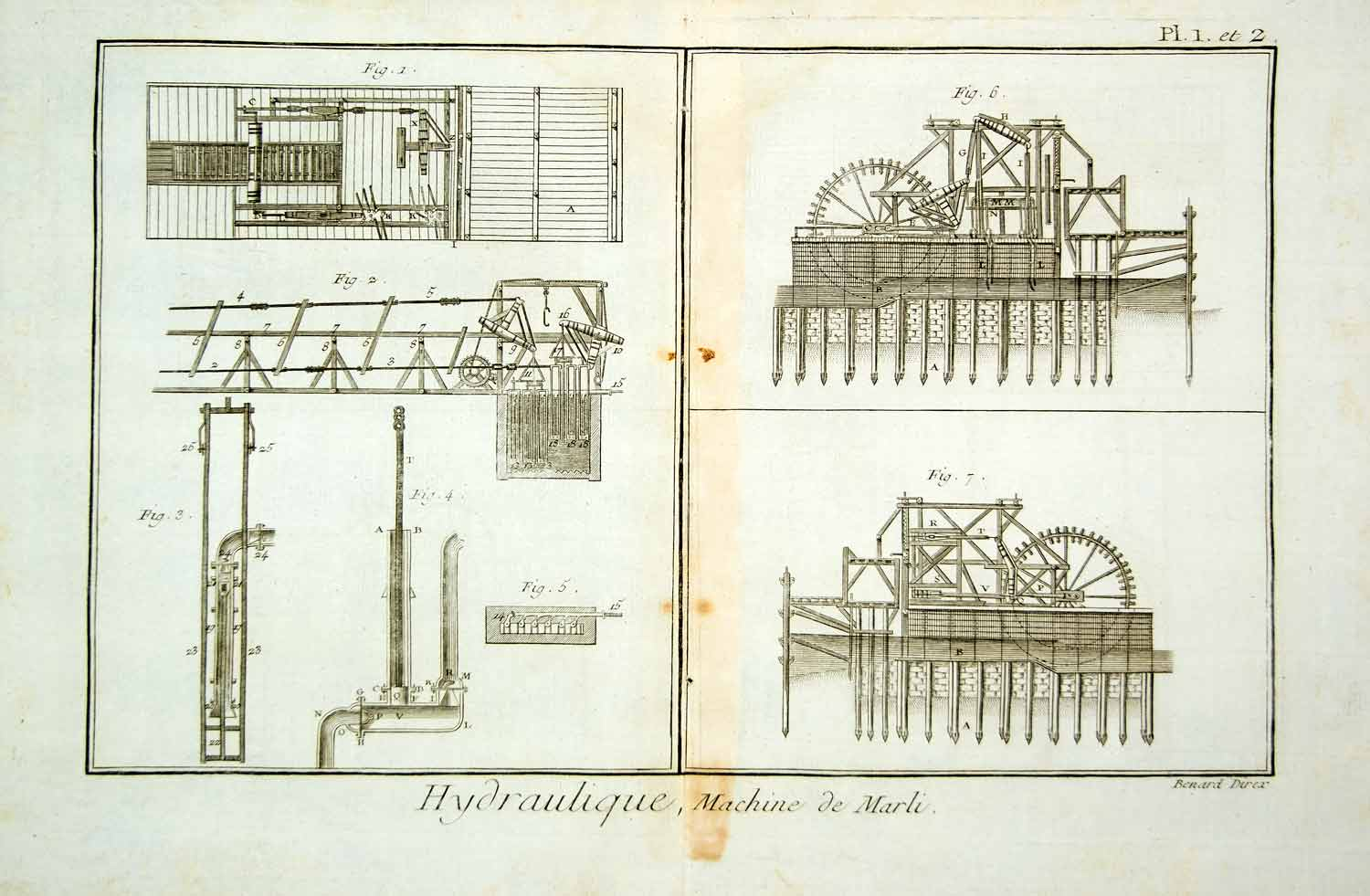 1778 Copper Engraving Machine de Marly Hydraulics Diderot Antique Print DDR1