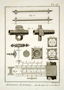 1778 Copper Engraving Antique Astronomy Instruments Parts Diderot Drawing DDR1