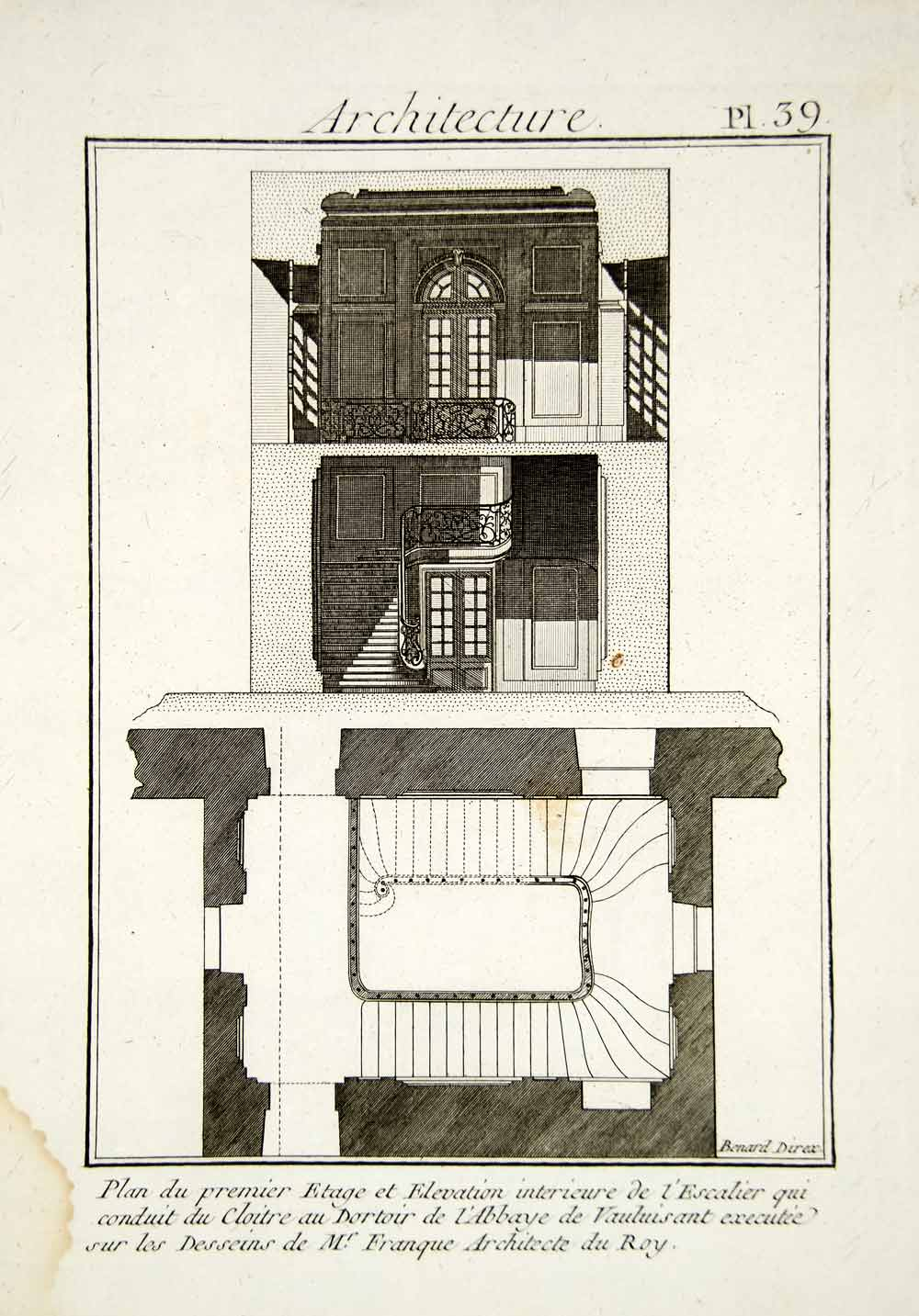 1779 Copper Engraving Architectural Plan Vauluisant Abbey Staircase Fronque DDR2