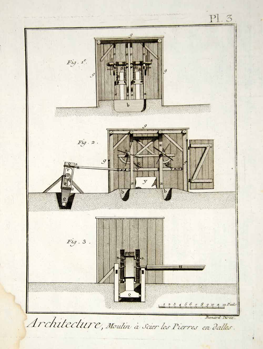 1779 Copper Engraving Windmill Stonecutting Parts Interior Antique Diderot DDR2