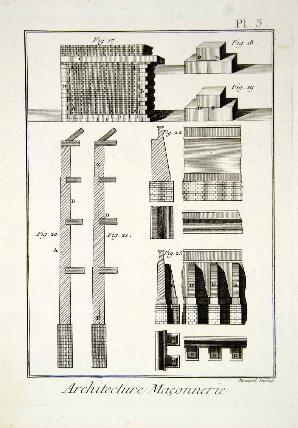 1779 Copper Engraving Architecture Masonry Brick Stone Walls Patterns Print DDR2
