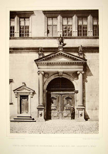 1888 Photogravure Rathhaus Door Rothenburg ob der Tauber Germany Town Hall DDR4