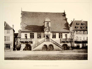 1888 Photogravure Molsheim Germany Rathhaus Stairs Renaissance Architecture DDR4