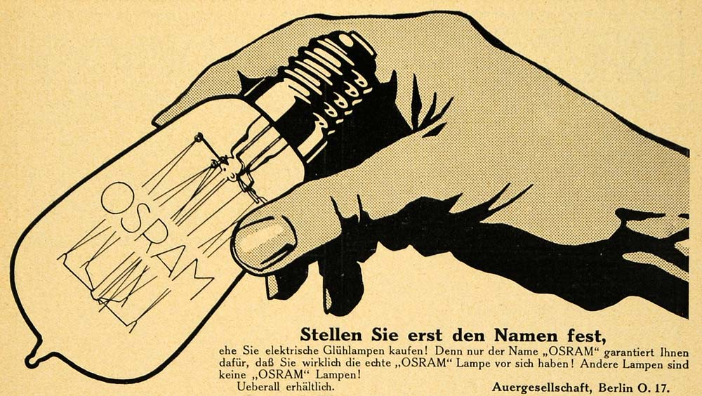 1913 Ad Light Bulb Osram Electricity Berlin Germany Lighting Electric Hand DKU1