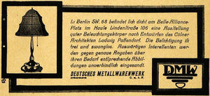 1913 Ad Deutsches Metallwarenwerk Lamp Metalwork German Lighting Decor DKU1