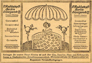 1913 Ad P. Raddatz Berlin Germany Outdoor Garden Tent Umbrella Summer Woman DKU1
