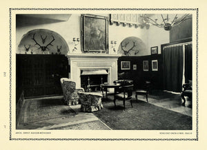 1913 Print Hall Antlers Fireplace Interior Design Chair Room Den Vaulted DKU1