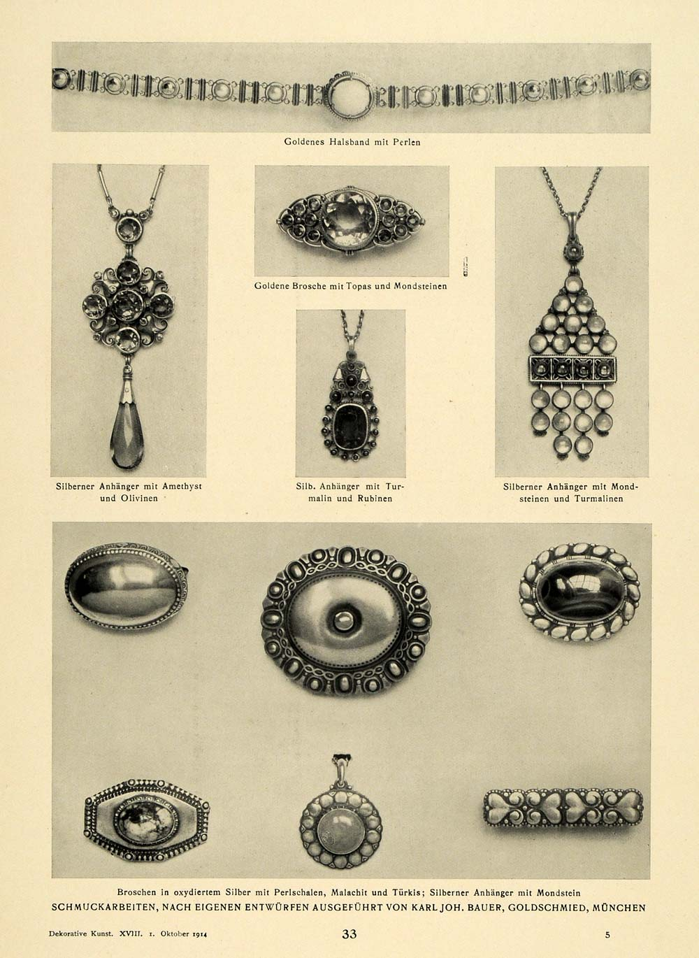 1914 Print Jewelry Necklaces Broach Rings Silver Gold Pearl Ruby Amethyst DKU1
