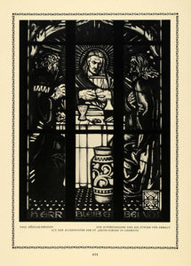 1913 Print Risen Christ Stained Glass Disciples Church Altar Piece St DKU1