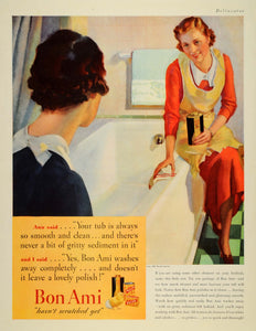 1935 Ad Bon Ami Powder Cake Polish Cleaner Polish Housewife Bathtub Friend DL2