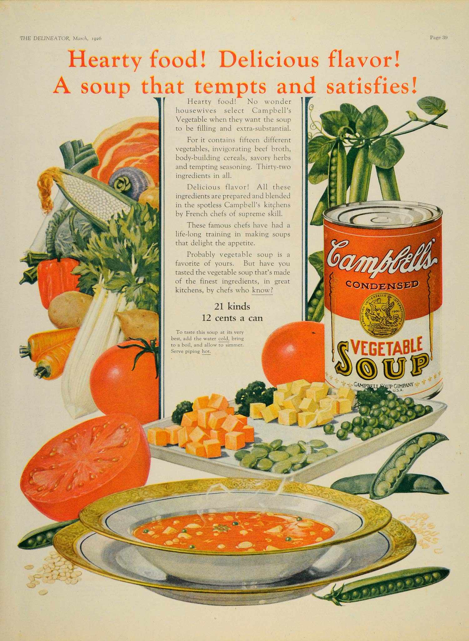 1926 Ad Campbells Soup Vegetable Canned Camden Nj Bowl Harvest Tomato Pea Dl2