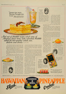 1926 Ad Hawaiian Pineapple Canned Crushed Sliced Fruit Women Recipe DL2