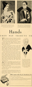1925 Ad Cutex Cosmetic Dora Stroeva Mlle Spinelly Trini Hands Nails Manicure DL2