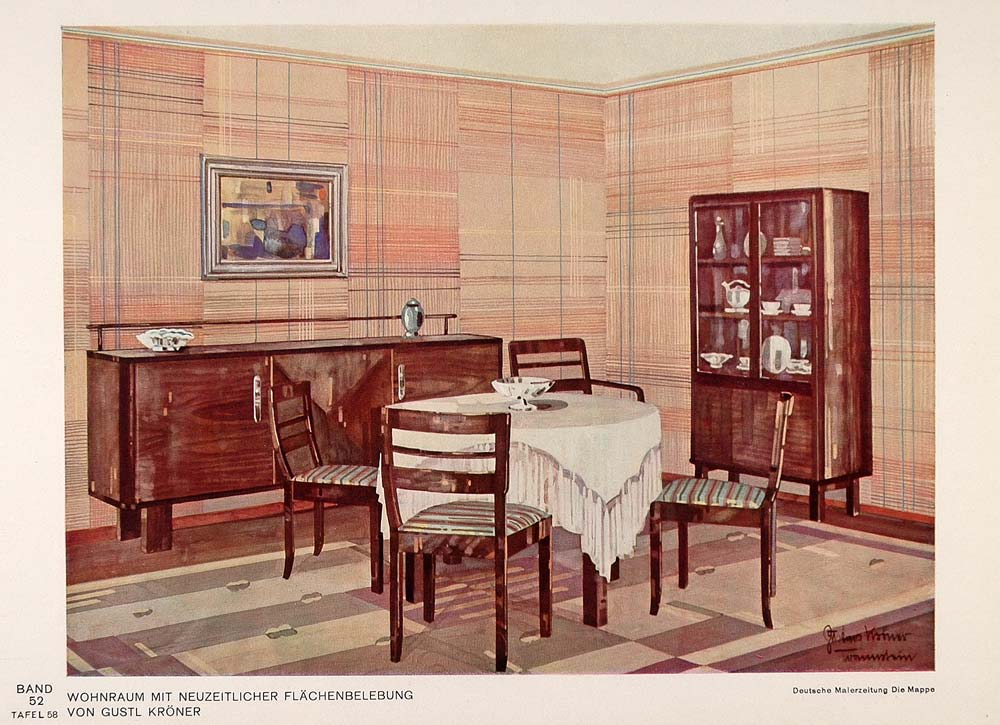 1932 Art Deco Dining Room Table Buffet Wallpaper Print - ORIGINAL DMA1