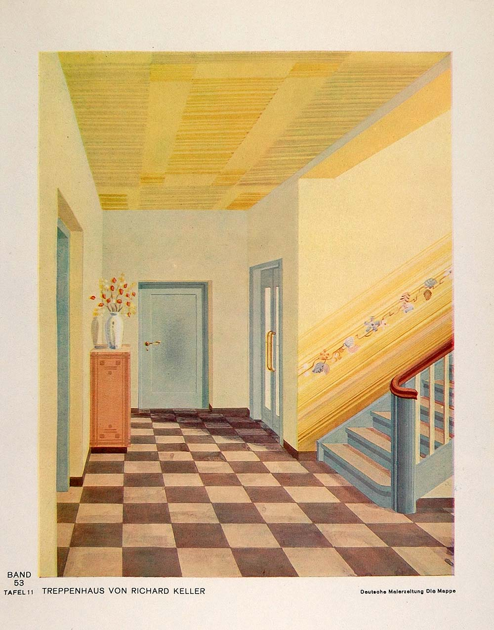 Awesome 1933 Art Deco Staircase Steps House Stairway Hall Print   ORIGINAL DMA1
