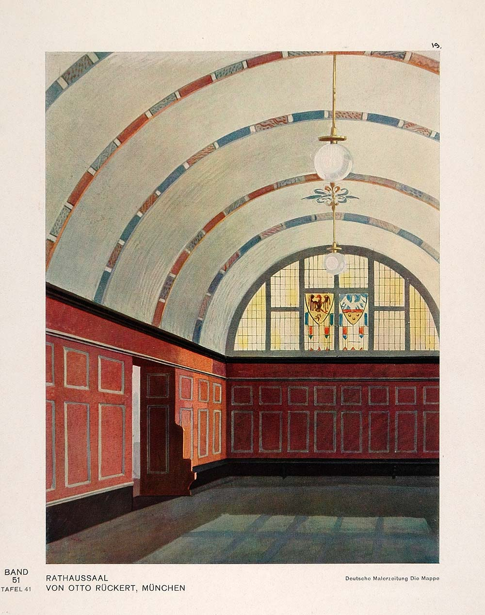1931 Art Deco Interior Design Rathaus City Hall Print - ORIGINAL DMA1