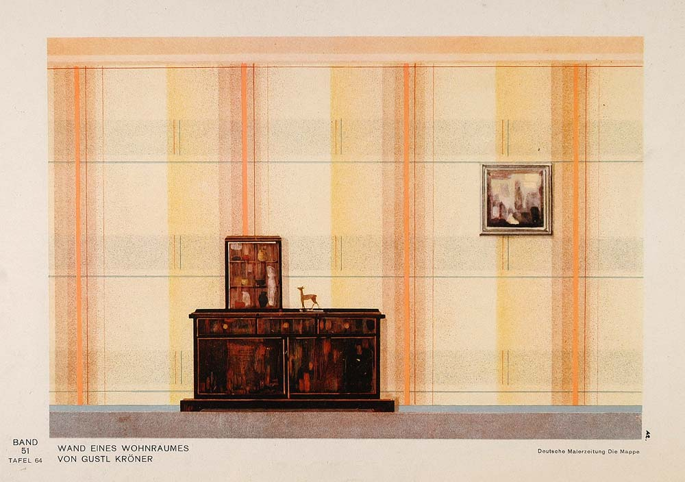 1931 Art Deco Wall Design Living Room Cabinet Print - ORIGINAL DMA1