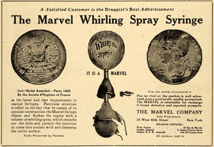 1920 Ad Marvel Whirling Spray Syringe Vaginal Douche Gold Medal 25 W 4 St DRC1