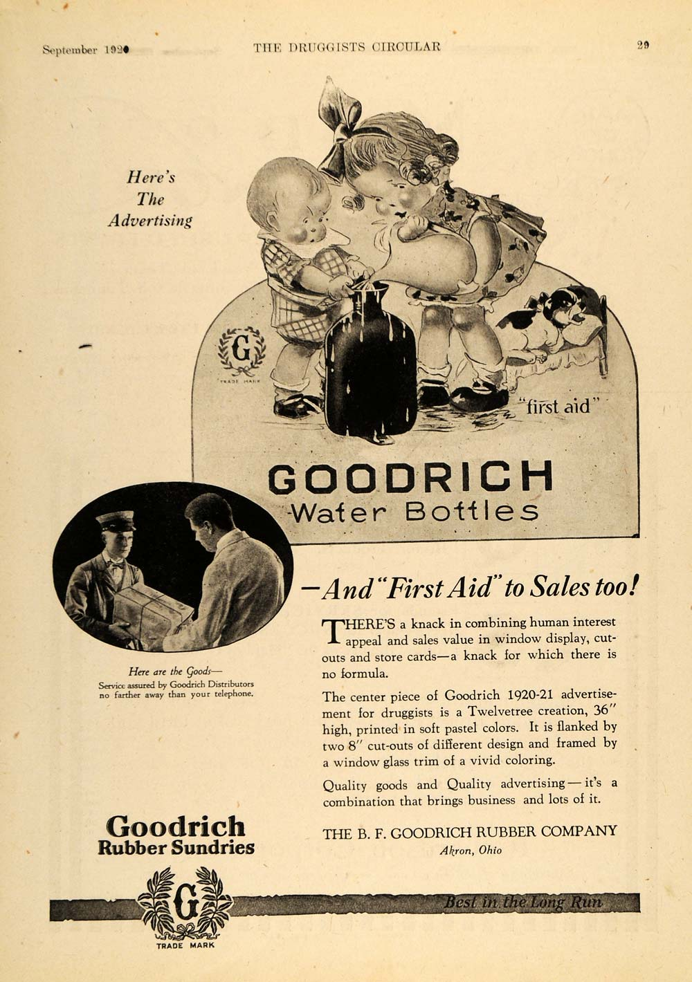 1920 Ad B. F. Goodrich Rubber Water Bottles Advertising - ORIGINAL DRC1