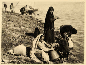 1929 Egypt Et-Till Nile River Egyptian Women Water Pots - ORIGINAL EG1
