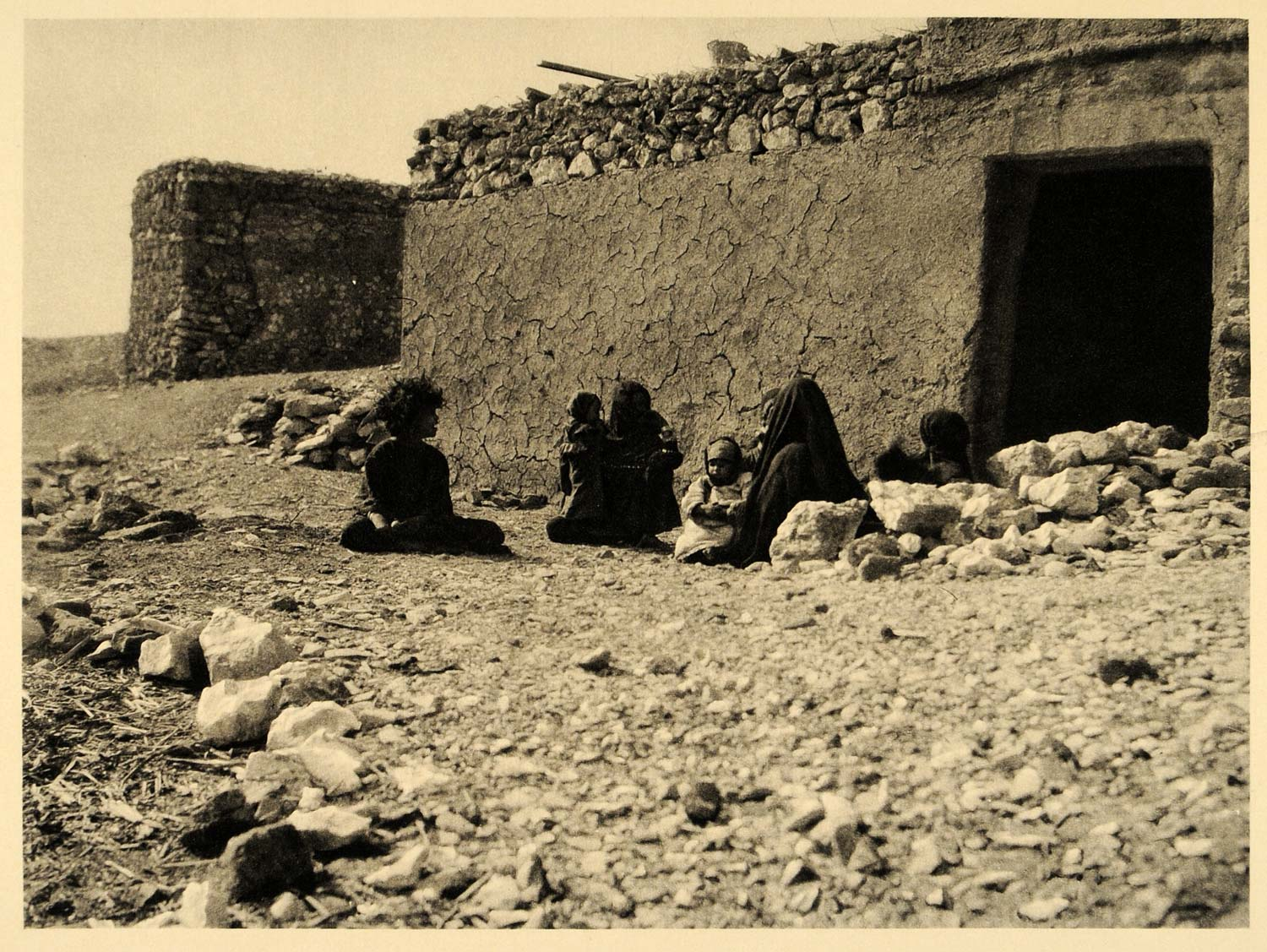 1929 Thebes Luxor Egypt Photogravure Women Dwelling - ORIGINAL PHOTOGRAVURE EG1