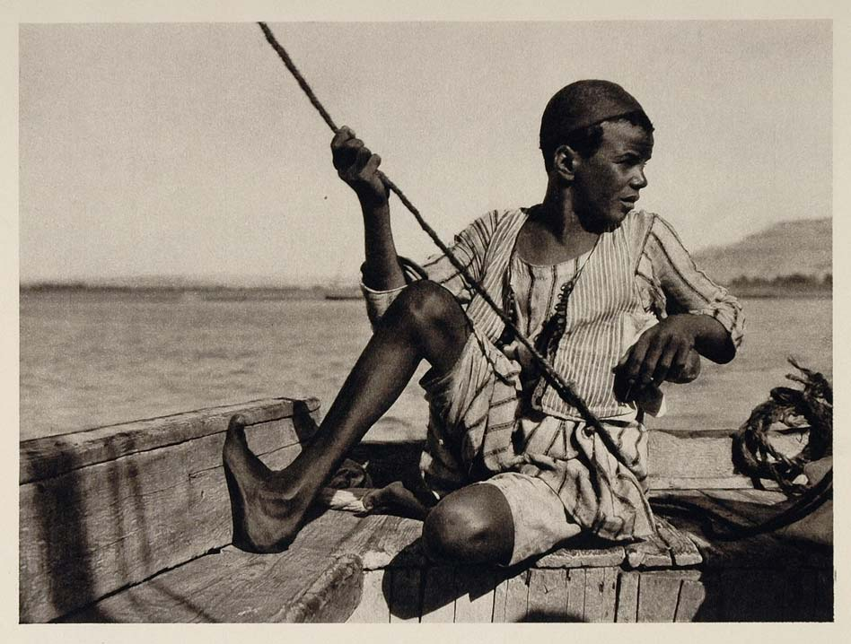 1929 Ferry Boy Fahrjunge Bachoteur Nile Thebes Egypt - ORIGINAL EGYPT
