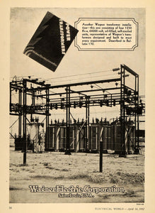 1932 Ad Wagner Electric Corp. Power Transformers MO - ORIGINAL ADVERTISING ELC1
