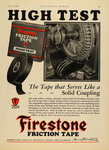 1928 Ad Firestone Co. Logo Friction Coil Tape Rubber - ORIGINAL ADVERTISING ELC1