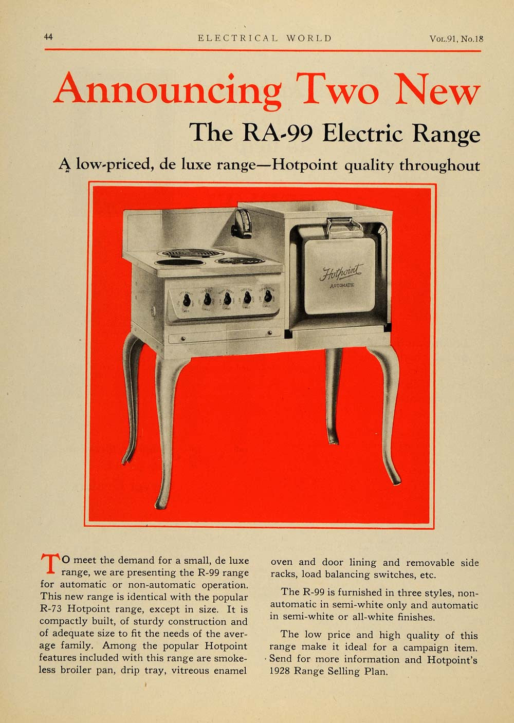 1928 Ad Edison Electric Appliance RA-99 Tange Hotpoint - ORIGINAL ELC1