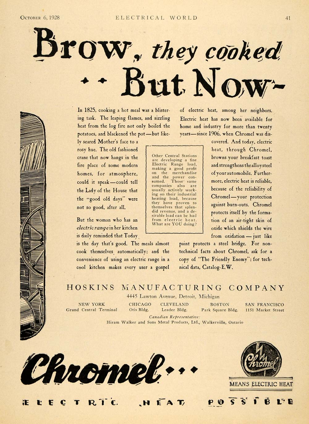 1928 Ad Hoskins Manufacturing Co. Hotpoint Fireplace - ORIGINAL ADVERTISING ELC1