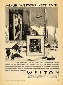 1930 Ad Weston Electrical Instrument Corp. Plane Sled - ORIGINAL ELC1