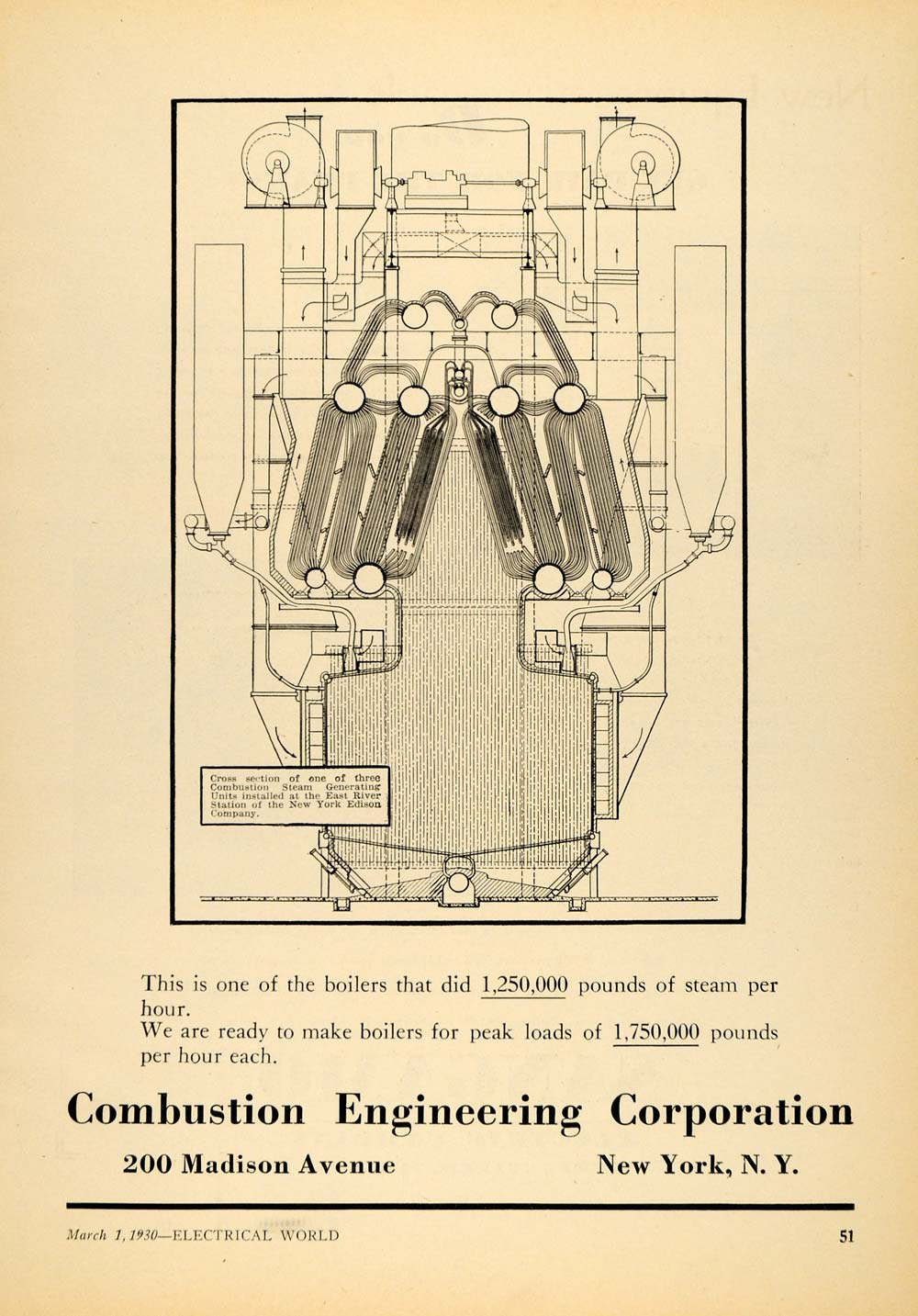 1930 Ad Combustion Engineering Corp. Steam Generating - ORIGINAL ELC1